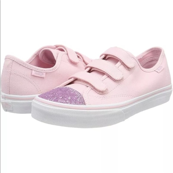 43e8185b53 Vans girls Style 23 V glitter toe pink shoes NIB